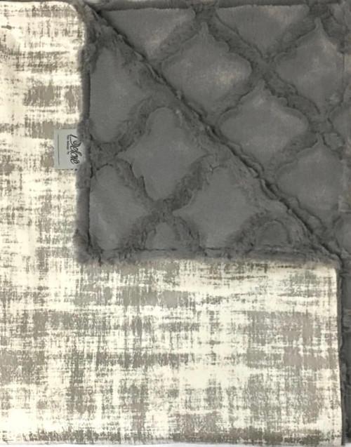 Delore Baby Cream Vintage Suede/ Grey Embossed Lattice Baby Blanket