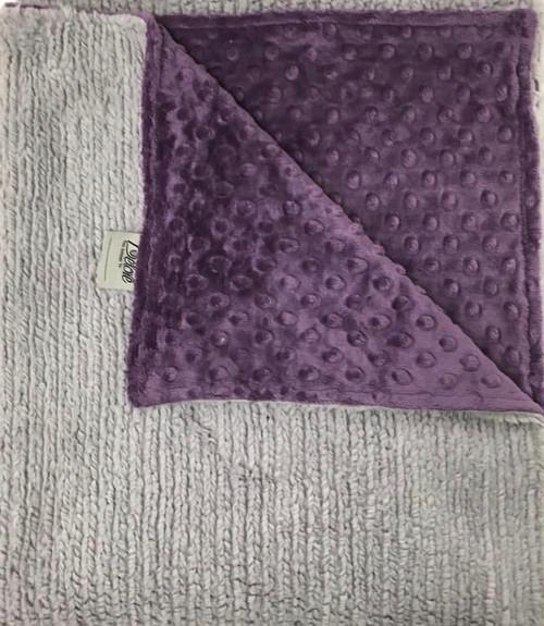 Delore Baby Grey Sweater/ Purple Minky Dot Baby Blanket