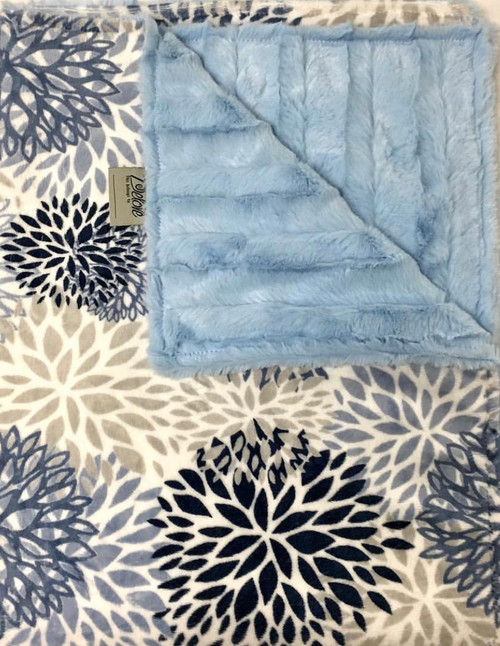 Delore Baby Blue Blooms/ Blue Stripe Baby Blanket