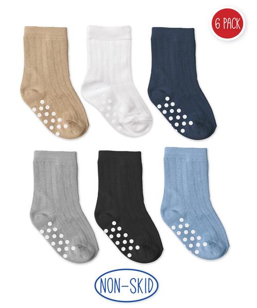 Jefferies Non-Skid Rib Crew Socks 6-Pack
