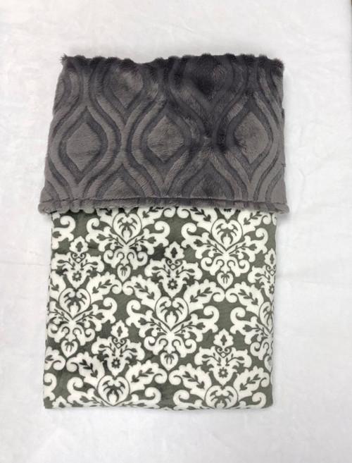 Babyboo Collection Baby Blanket Grey Damask