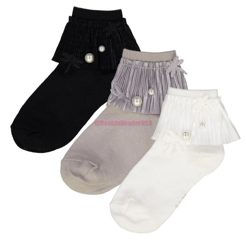 JRP Pleated Lace with Pearl Ankle Sock