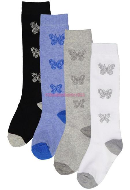 Memoi Girls Lurex Butterfly Knee High