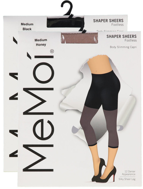 Memoi Womens Shaper Sheer Footless 12 Denier Body Slimming Capri