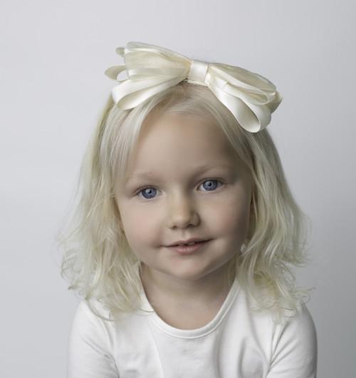 Riqki Ivory Baby Wedding Bow Headband