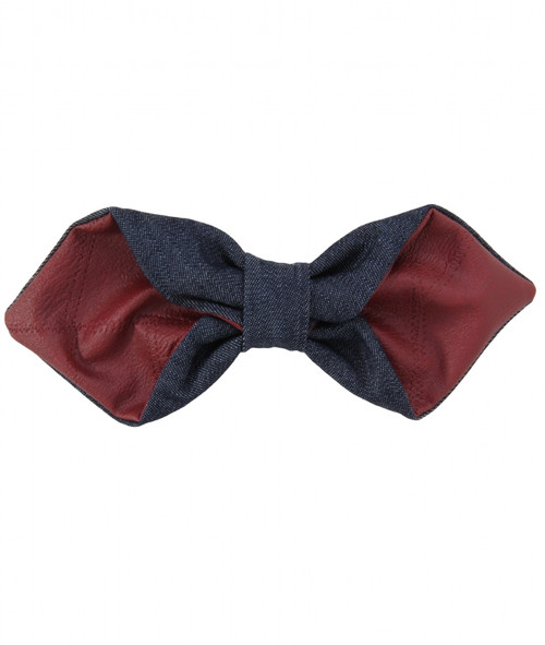 Riqki Denim Leather Bow Clip