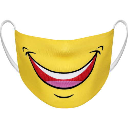 Athletic Knit Adult Large Reusable Cloth Face Mask - Smile!