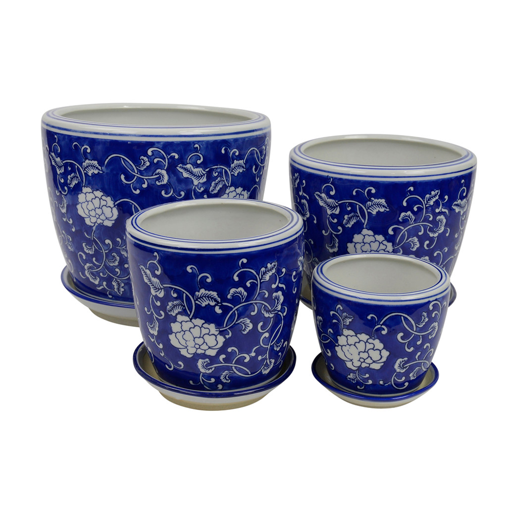SET 4 STRAIGHT PLANTERS -GARDENIA AND VINES - PE0051