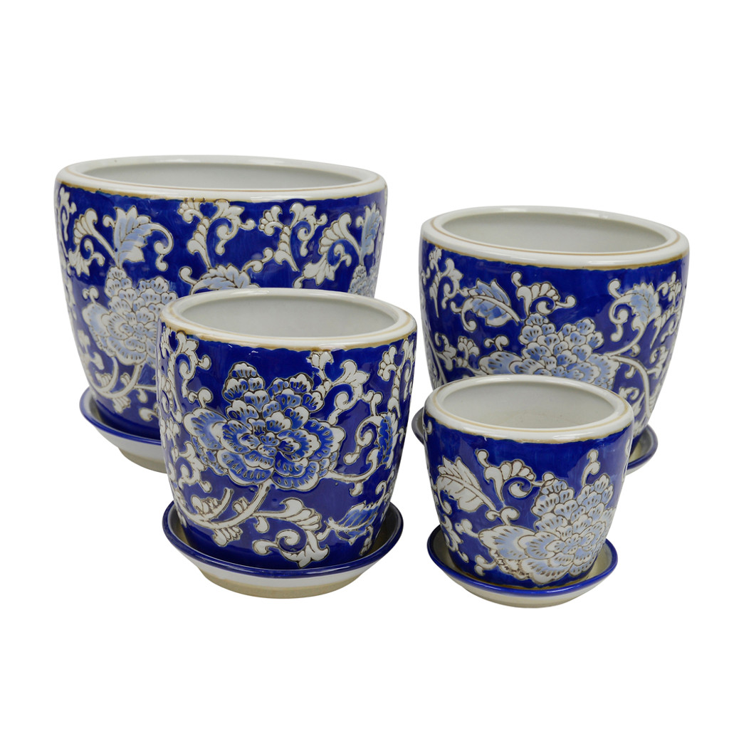 SET 4 STRAIGHT PLANTERS - DARK EMBOSSED FLOWERS - PE0054