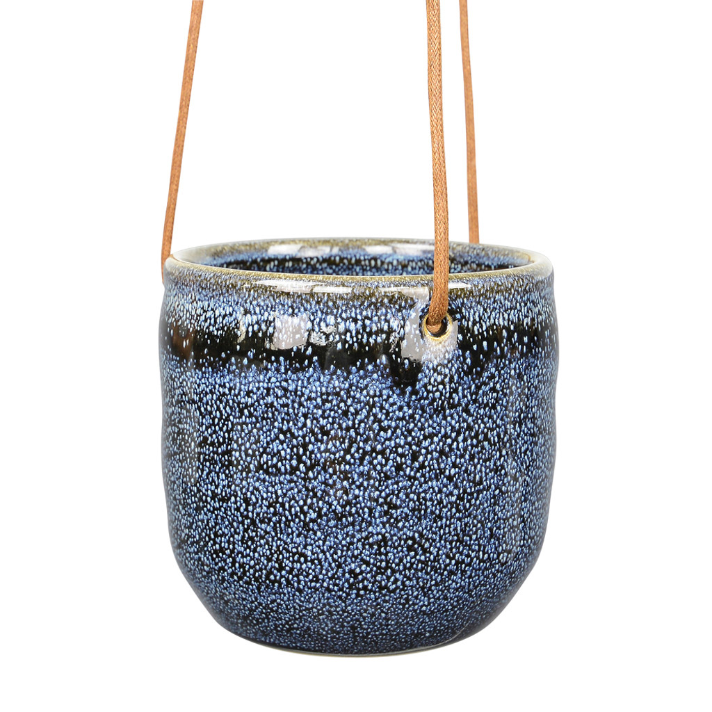 SMALL BLUE HANGING CERAMIC PLANTER -DHP0100
