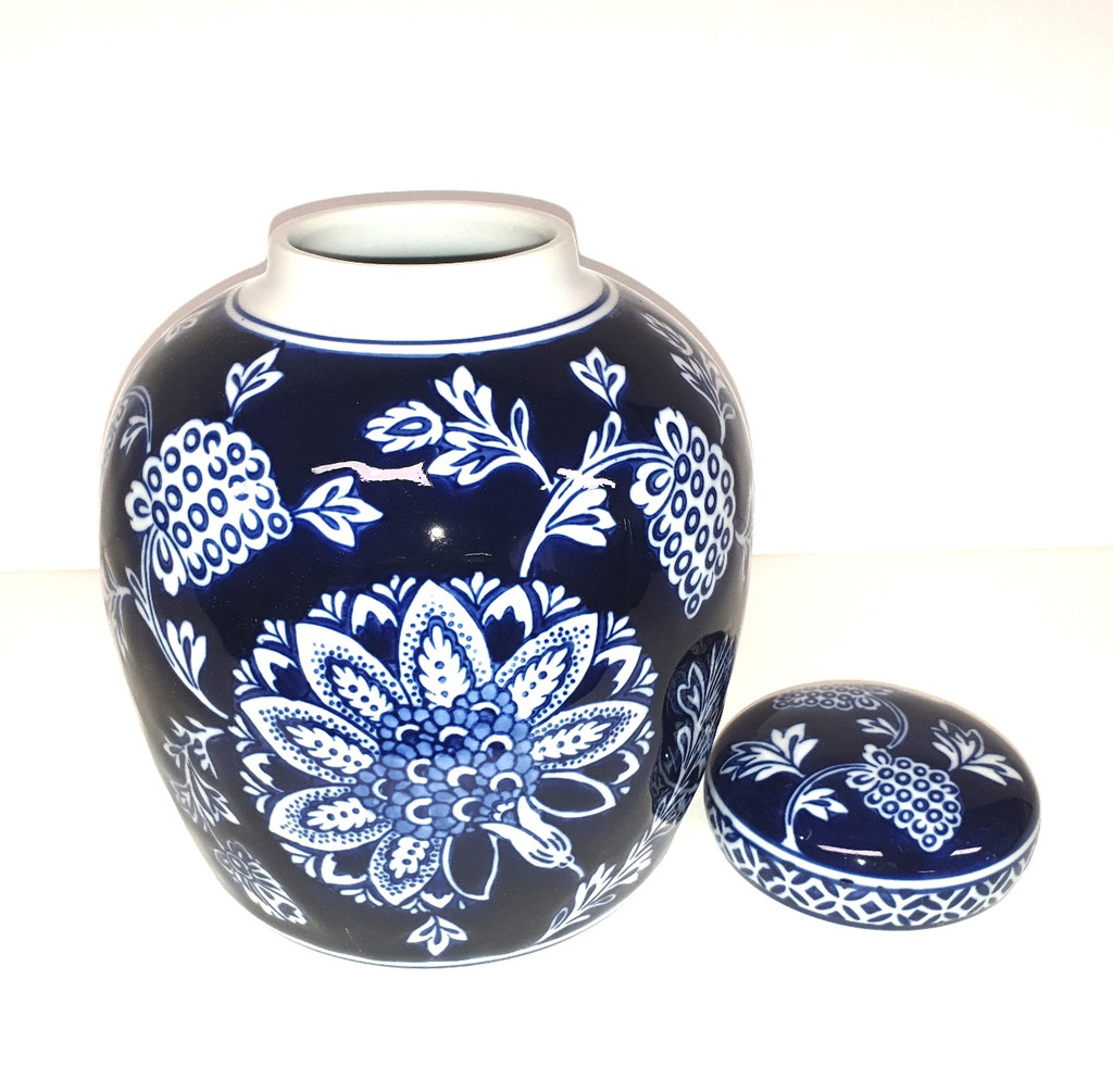 Dark Blue and White Ginger Jar - PE1018