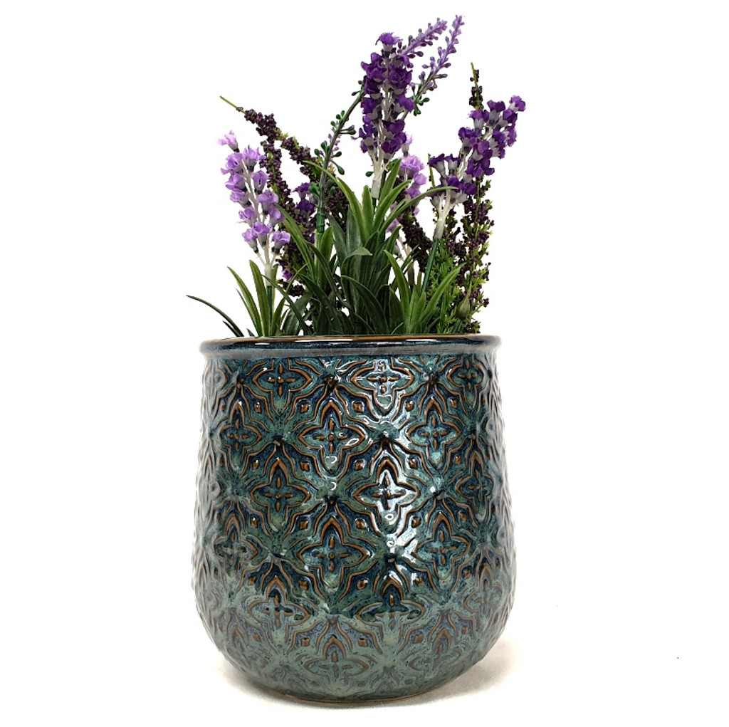 Small Sea Green Embossed Pot - DHP0116