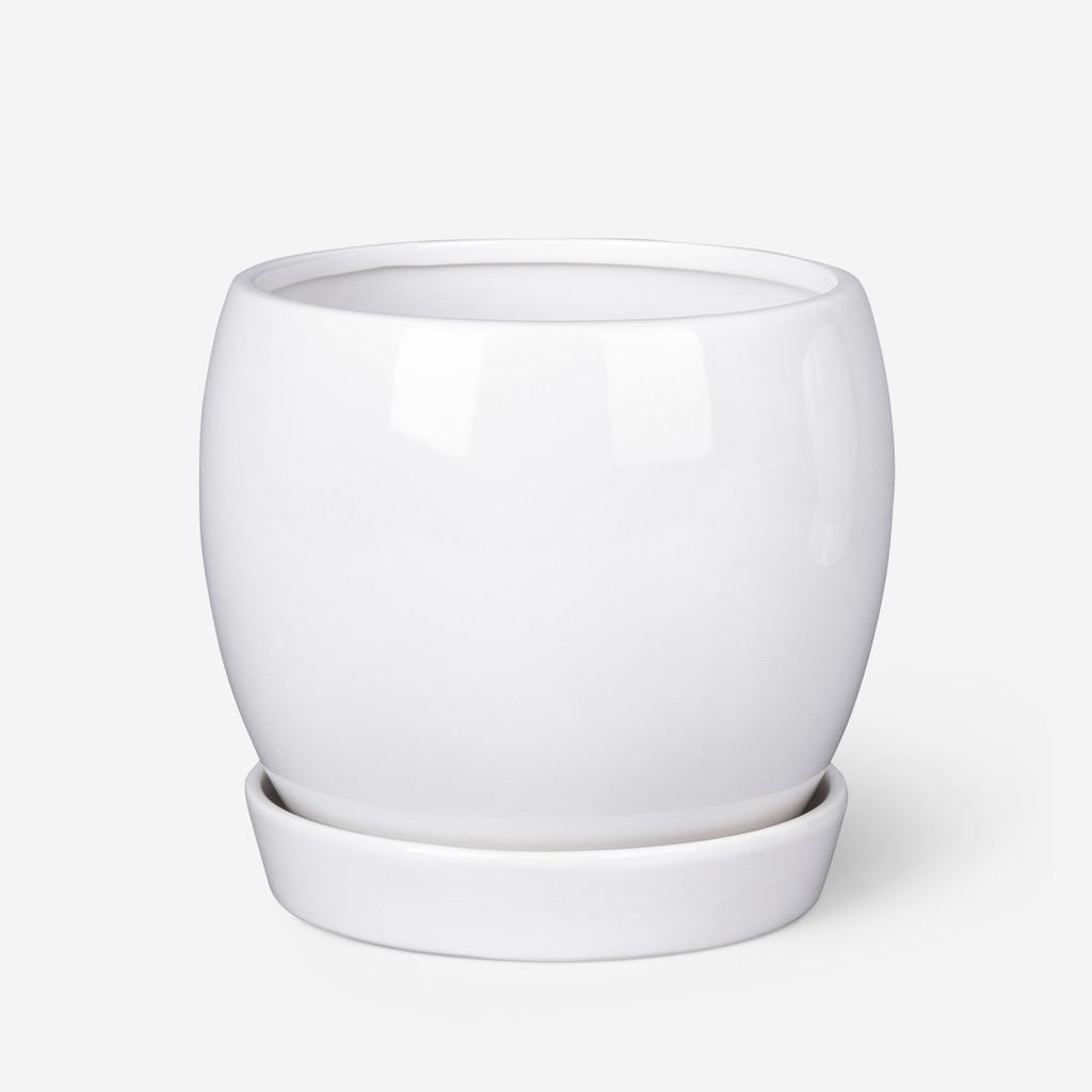 ROUND PLANTER  WHITE - LARGE - DHP0077