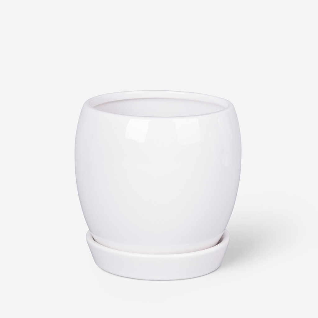 ROUND PLANTER  WHITE - MEDIUM - DHP0077