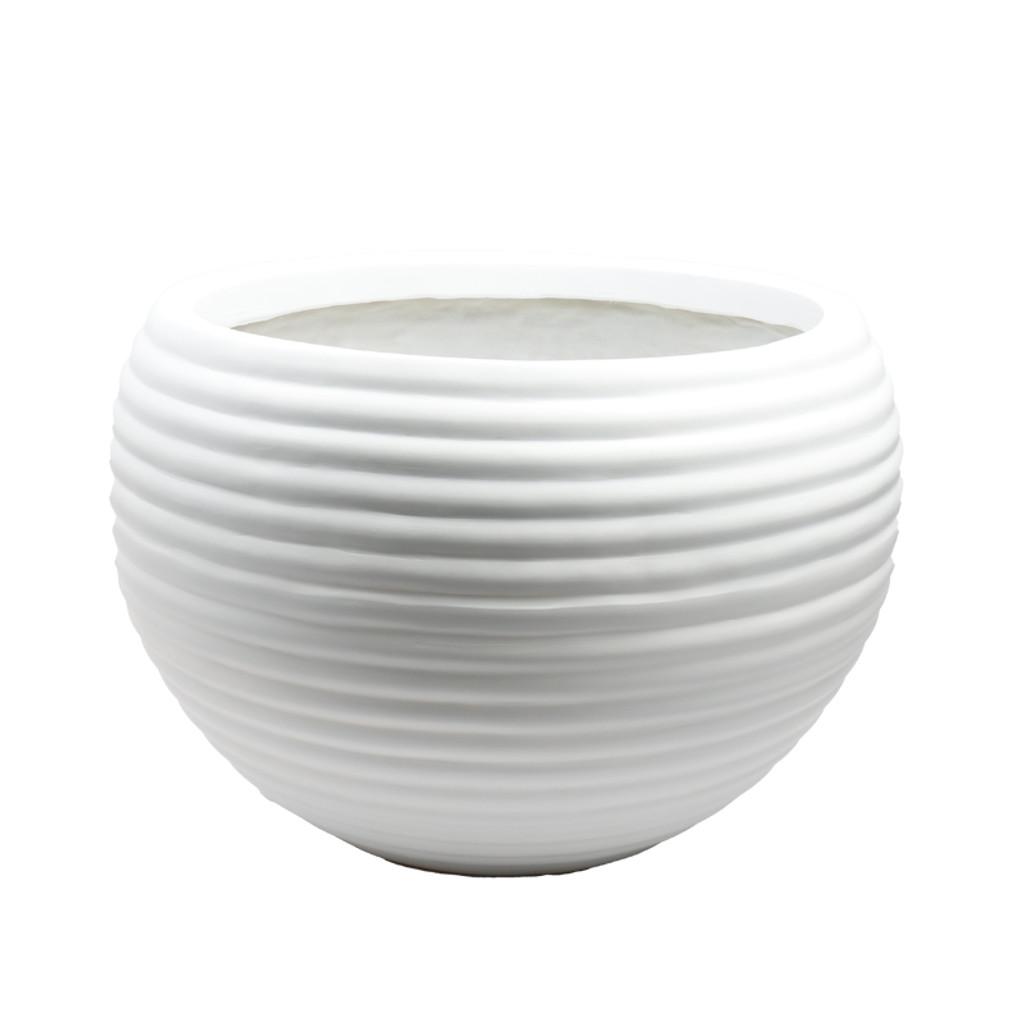 XL WHITE STRIPED POT-CZ016