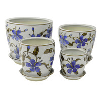 SET 4 STRAIGHT PLANTERS BLUE HIBISCUS - PE0049