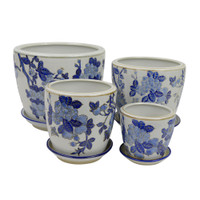 SET 4 STRAIGHT PLANTERS - EMBOSSED CHERRY BLOSSOMS - PE0053