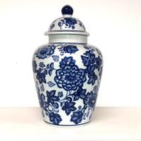 Large Blue and White Flower Ginger jar - PE1019