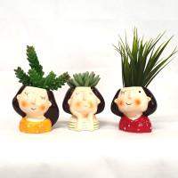 Pretty girls face pots - Set of 3 - SS1022