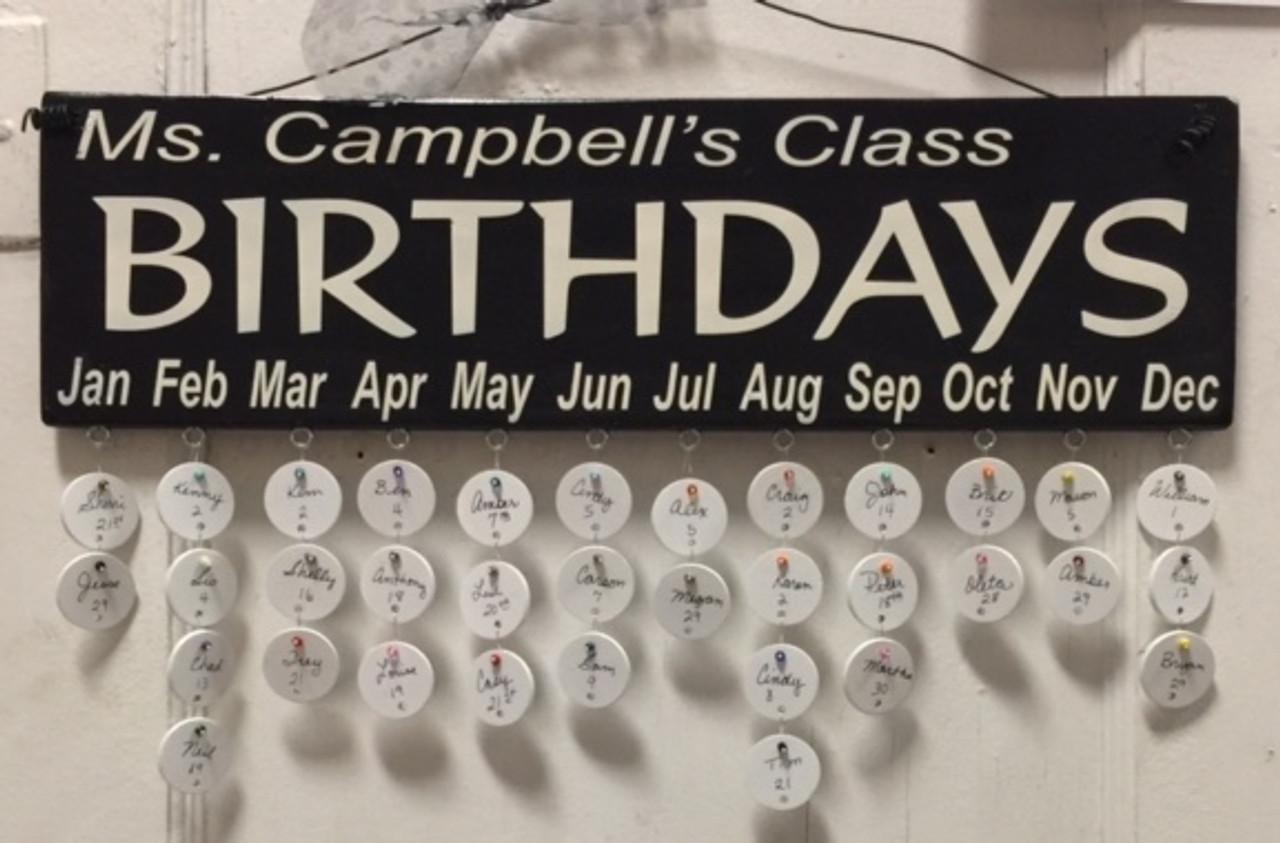 Teachers Name Class Birthdays