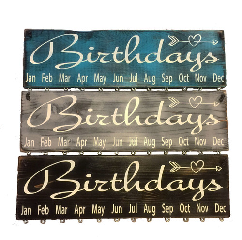 Birthdays Cursive with Heart Birthday Calendar Turq, Gray, Black