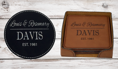 Personalized Leather Coaster Set