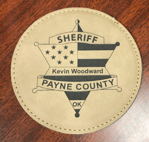 Round Tan Coaster Set - Sheriff