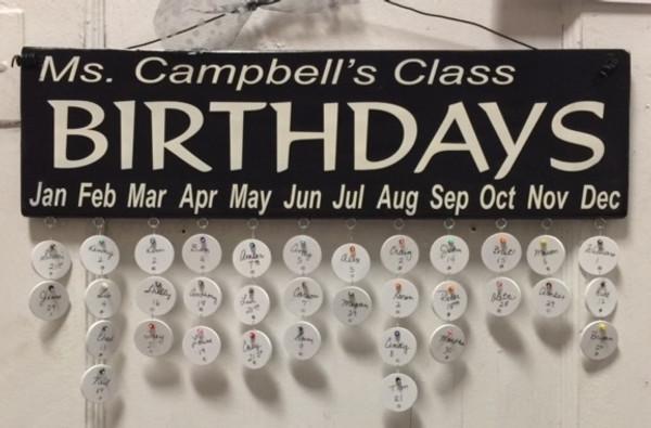 Teacher's Name Class Birthdays