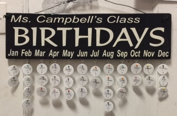 Teacher's Name Class Birthdays
