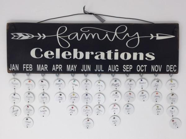 Family Celebrations with Arrow Birthday Calendar Black