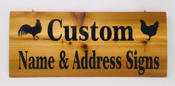 Address & Name Custom Wooden Signs Laser Letters - No Frame