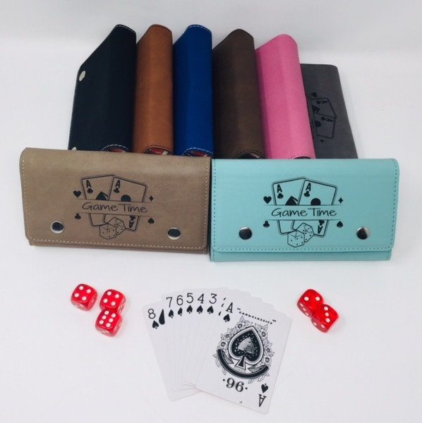 Game Pack - Card & Dice Holder 2 Decks of Cards, 5 Dice and holder.  Customize Name on Front