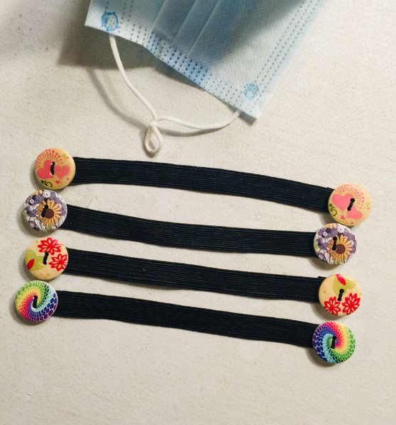 Various Color Patterned - Button Extender 4 Pack