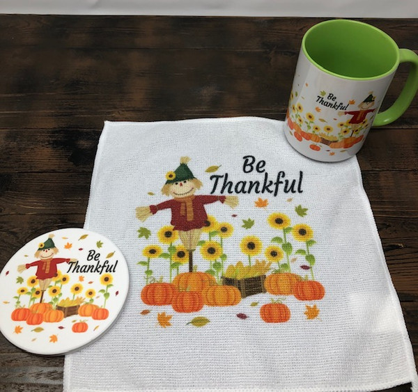 Coaster, Mug & Towel Set Be Thankful Scarecrow and Pumpkins