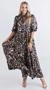 90ELK LEOPARD TIER MIDI DRESS