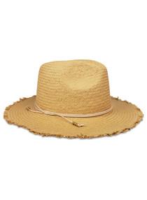 131 FRINGE TRAVEL HAT - TOAST/BLUSH