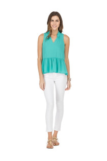 53E9438-8 TIERED SHELL TOP - TURQUOISE