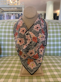 76658 FLOWER & STRIPE BEAD SCARF