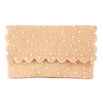 3000P HALF FLAP CLUTCH - COFFEE/PEARLS