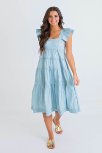 K21006 SOLID POPLIN TIER DRESS - LT BLUE