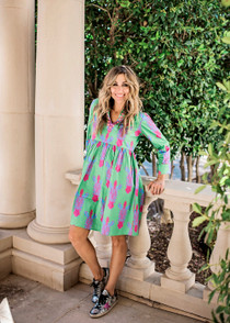 LUCY DRESS - GREEN ZEBRA