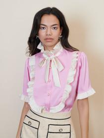 Cross Court Ruffle Blouse - Pink
