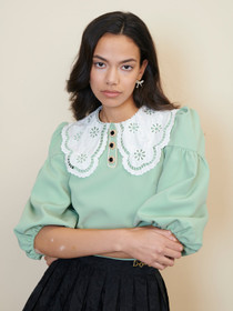 Tournament Collar Cropped Blouse - Green