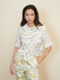 Game Floral Ruffle Blouse - Ivory