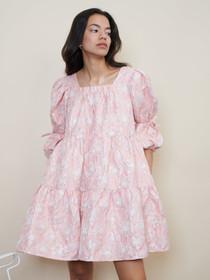 Sideline Jacquard Mini Dress - Pink