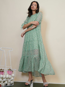 Rival Floral Tiered Maxi Dress- Green