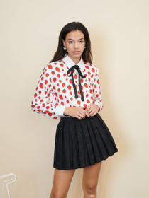 Strawberry Court Bow Shirt - Red