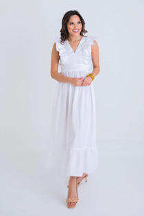 Poplin Maxi Dress - White