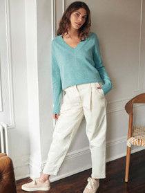 19308 Cashmere L/S VNeck Sweater - Aqua