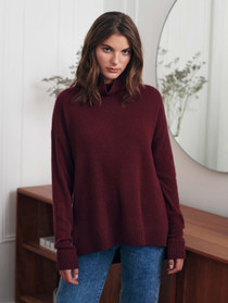 19113 Cashmere Ribbed Stand Neck - Beetroot